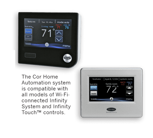 Cor home automation system thermostats